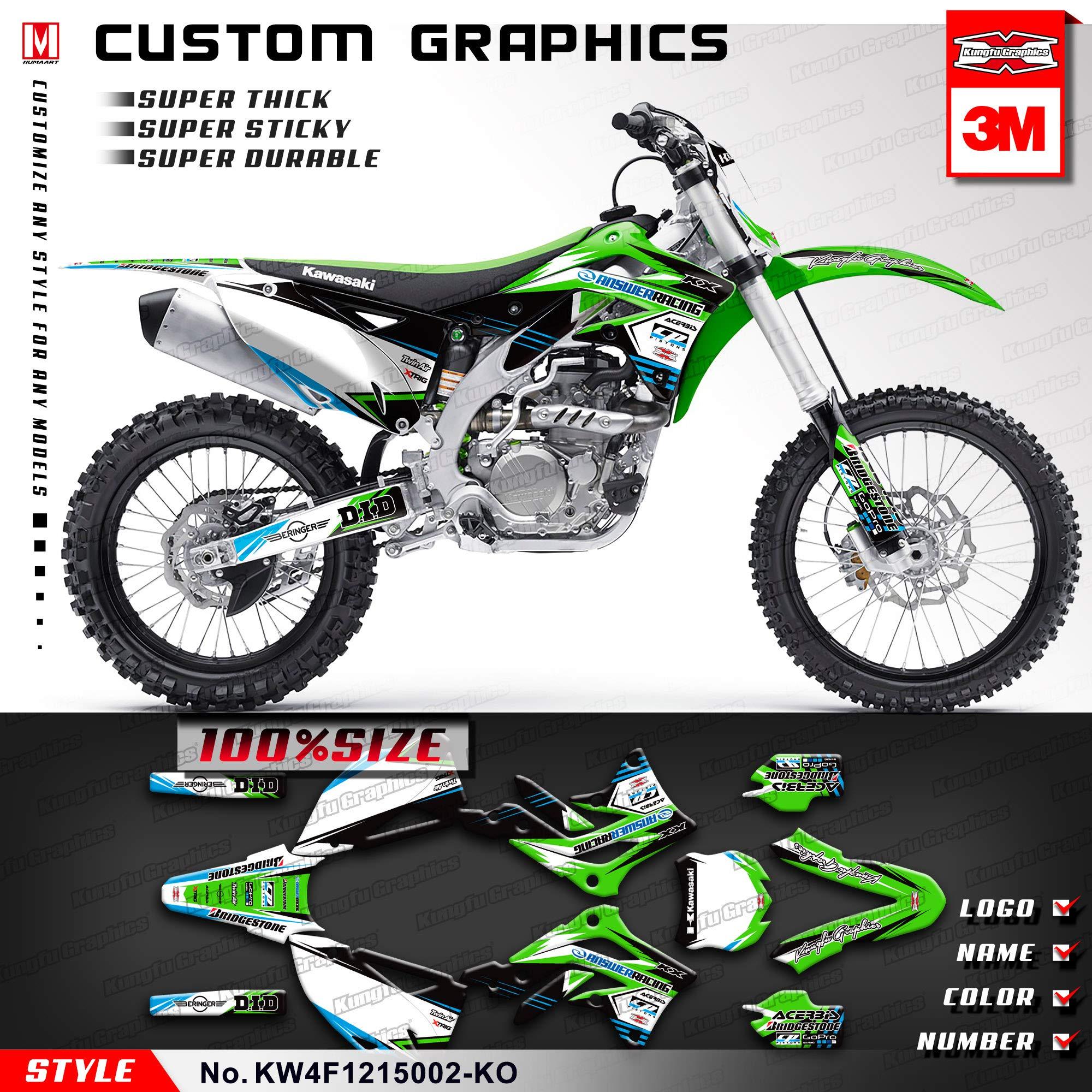Kungfu Graphics Custom Decal Kit for Kawasaki KX450F 2012, White Black Green,KW4F1215002-KO