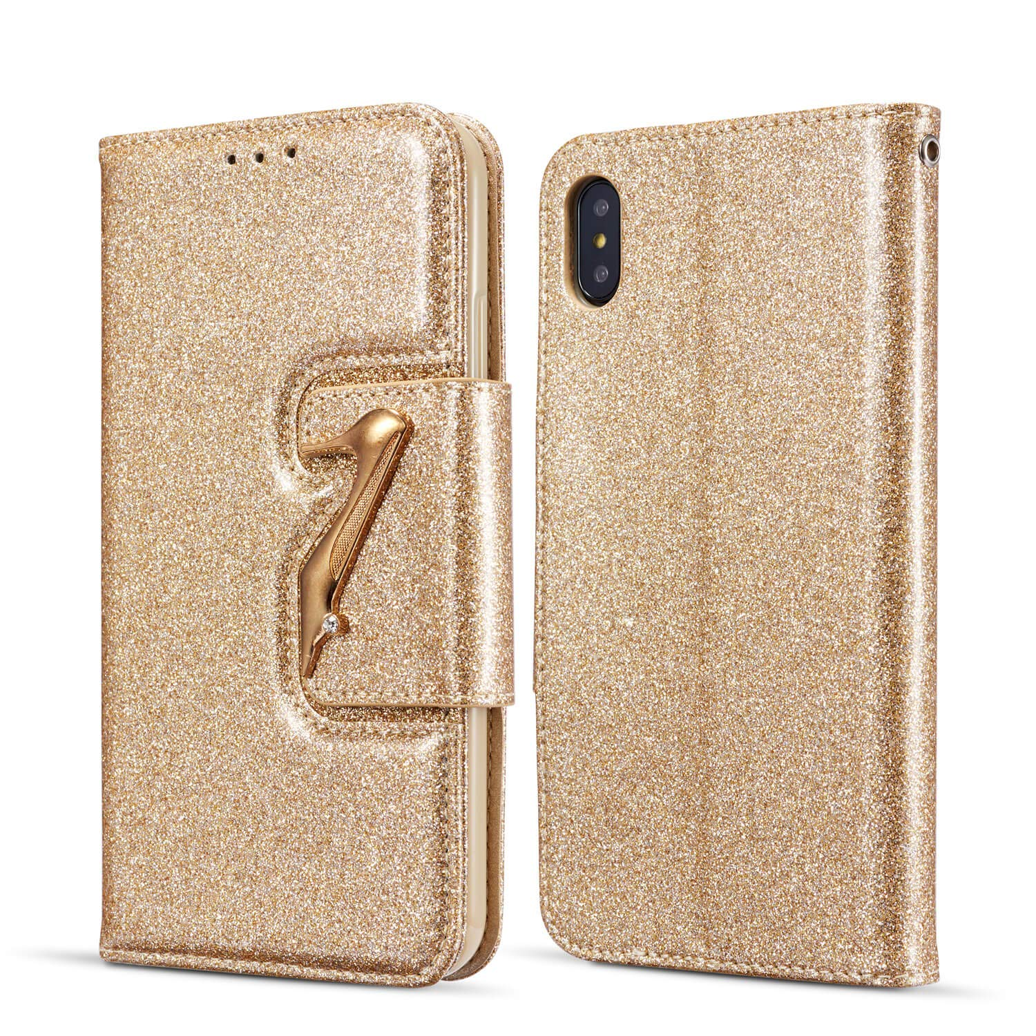 DEFBSC iPhone X iPhone Xs Wallet Case with Kickstand Card Holder,Bling Glitter PU Leather Folio Flip Case for iPhone X/iPhone Xs 5.8 inch,Gold
