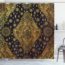 "Ambesonne Mandala Shower Curtain, Bohemian Paisley Ornament Tattoo Vintage Design Print, Cloth Fabric Bathroom Decor Set with Hooks, 84"" Long Extra, Charcoal Grey"