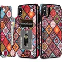 HianDier Wallet Case for iPhone Xs MAX, Slim Protective Case with Credit Card Slot Holder Flip Folio Soft PU Leather Magnetic Closure Cover Case Compatible with iPhone Xs MAX, Mandala Colorful