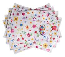 Maison d' Hermine Happy Florals 100% Cotton Set of 4 Placemats for Dining Table | Kitchen | Wedding | Everyday Use | Spring/Summer | Dinner Parties (Sweety, 13 Inch by 19 Inch)