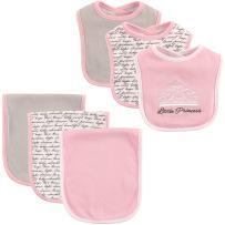 Hudson Baby Unisex Baby Cotton Bib and Burp Cloth Set, Princess, One Size