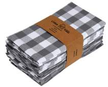 Urban Villa Dinner Napkins, Everyday Use,Premium Quality,100% Cotton, Set of 12, Size 20X20 Inch, Grey/White Oversized Cloth Napkins with Mitered Corners, Ultra Soft, Durable Hotel Quality
