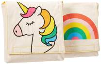 Fluf Reusable Snack Bags | Sandwich Bags for Kids | Eco Friendly, Certified Organic Cotton, Machine Washable | Set of 2 | Rainbows