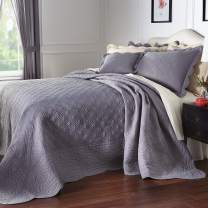 BrylaneHome Florence Oversized Bedspread - Queen, Gray