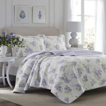 Laura Ashley Home - Keighley Collection - Luxury Premium Ultra Soft Quilt Set, All Season Stylish Bedding, Twin, Lilac