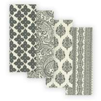 """Elrene Home Fashions Everyday Casual Prints Assorted Cotton Fabric Kitchen Towels, Set of 4, 17"""" x 28"""", Gray 4 Count"""