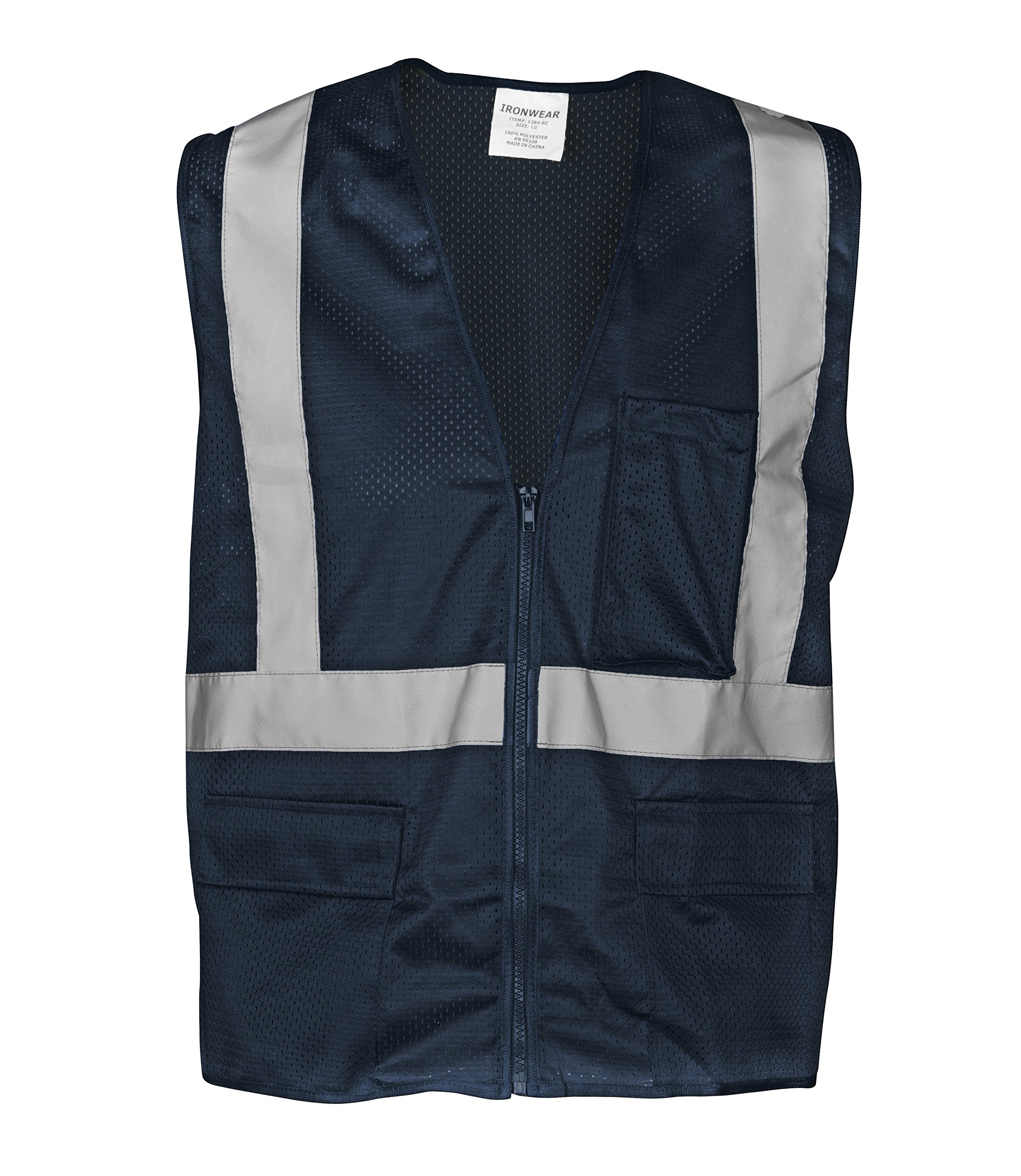 """Ironwear 1284-BZ-3-L Polyester Mesh SAFETY Vest with Zipper & 2"""" Silver Reflective Tape, Blue, Large"""