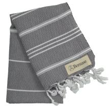 Bersuse 100% Cotton Anatolia Turkish Hand Towel, 23 x 43 Inches, Anthracite