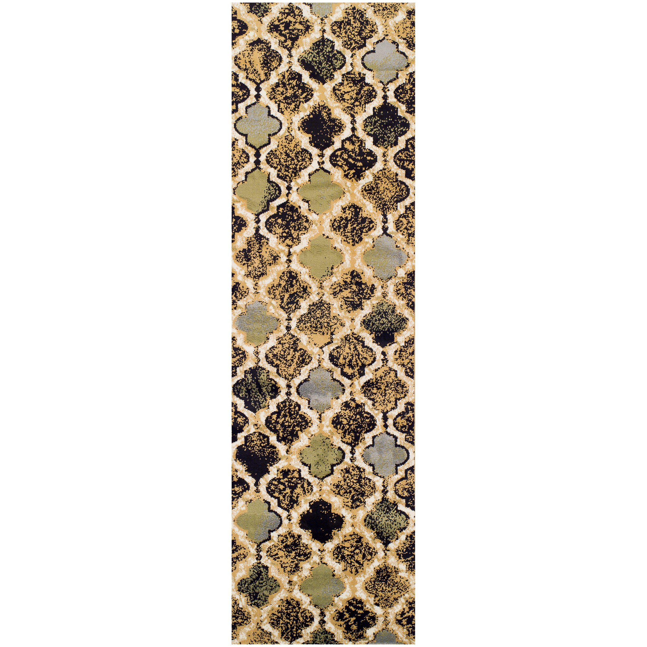 """Superior Modern Viking Collection Area Rug, 8mm Pile Height with Jute Backing, Chic Textured Geometric Trellis Pattern, Anti-Static, Water-Repellent Rugs - Multi-Colored, 2'7"""" x 8' Runner"""