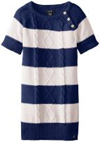 Nautica Girls' Striped Cable Knit Dress with Gold Buttons