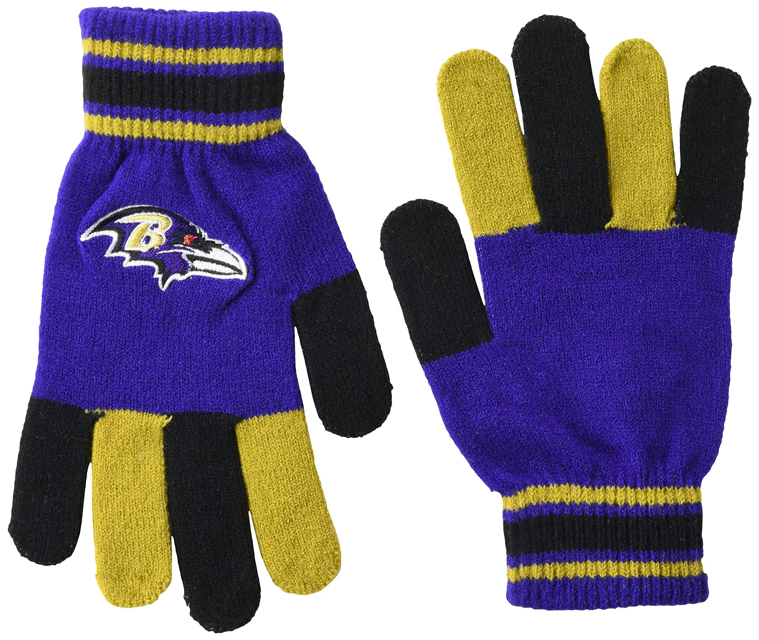FOCO NFL Baltimore Ravens Multi Color Team Knit Glove, Team Color, One Size