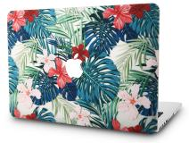 """KECC Laptop Case for MacBook Pro 15"""" (2019/2018/2017/2016) Plastic Hard Shell Cover A1990/A1707 Touch Bar (Palm Leaves Red Flower)"""