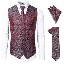 JOGAL Men's 3pc Paisley Vest Necktie Pocket Square Set for Suit or Tuxedo