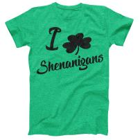 I Love Shenanigans Vintage Style Distress Heather Irish Green T-Shirt St Patricks Day Ireland Pride