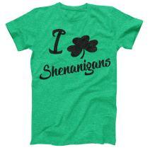 I Love Shenanigans Vintage Style Distress Heather Irish Green T-Shirt St Patricks Day Ireland Pride