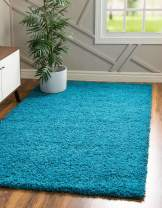 Unique Loom Solo Solid Shag Collection Modern Plush Turquoise Area Rug (12' x 15')