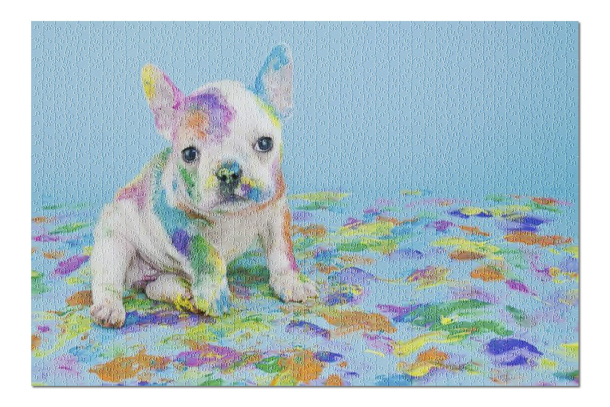 Rainbow Painted Puppy Dog 9006396 (19x27 Premium 1000 Piece Jigsaw Puzzle, Made in USA!)