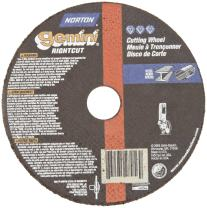 """Norton Gemini Right Angle Grinder Reinforced Abrasive Flat Cut-off Wheel, Type 01, Aluminum Oxide, 5/8"""" Arbor, 4"""" Diameter x 0.45"""" Thickness (Pack of 5)"""