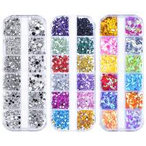 MelodySusie Nail Rhinestones Nail Crystals Round & Multi-Shape Decorations Mix 36 Style Flat Back Stones Gems Set for Nail Art Decoration, Clothes, Makeup and DIY Craft Decorating x 3 Box