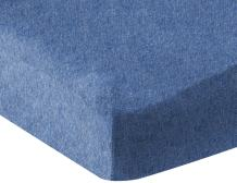 AmazonBasics Heather Cotton Jersey Fitted Baby Crib Sheet - Chambray Blue