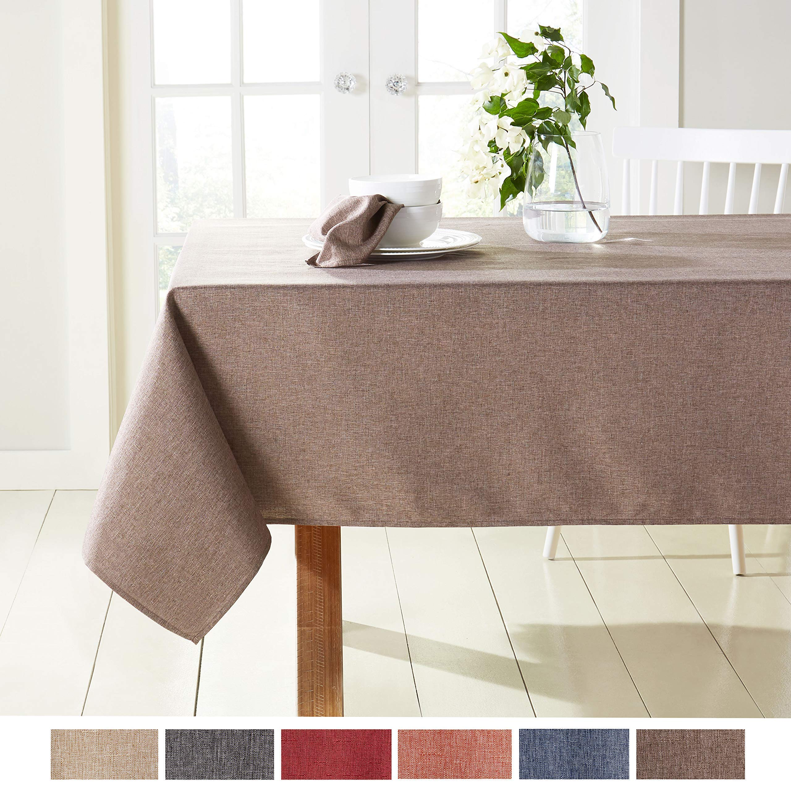 """Town & Country Living Somers Modern Farmhouse Tablecloth, Picnic/Indoor Outdoor/Stain Resistant/Machine Washable Polyester, 60""""x120"""" Rectangle Brown"""