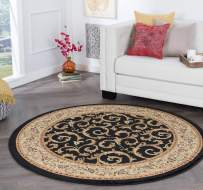 Tayse Westminster Black 6 Foot Round Area Rug for Living, Bedroom, or Dining Room - Transitional, Oriental