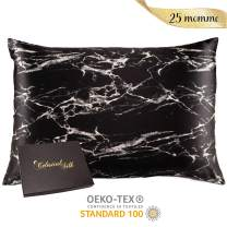 Celestial Silk 100% Silk Pillowcase for Hair Luxury 25 Momme Mulberry Silk, Charmeuse Silk on Both Sides -Gift Wrapped- (Standard, Black Marble)