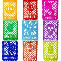 TexMex Fun Stuff La Loteria Mexican Fiesta Papel Picado Banner | Colorful Paper Decorations Party Supplies Occasions | 2 Pack (20 Feet Long)