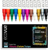 Ecovue Acrylic Paint Pen Markers Extra Fine Tip in 12 Vivid Fast Drying Colors For Glass, Wood, Mugs, Rock, Metal, Clay