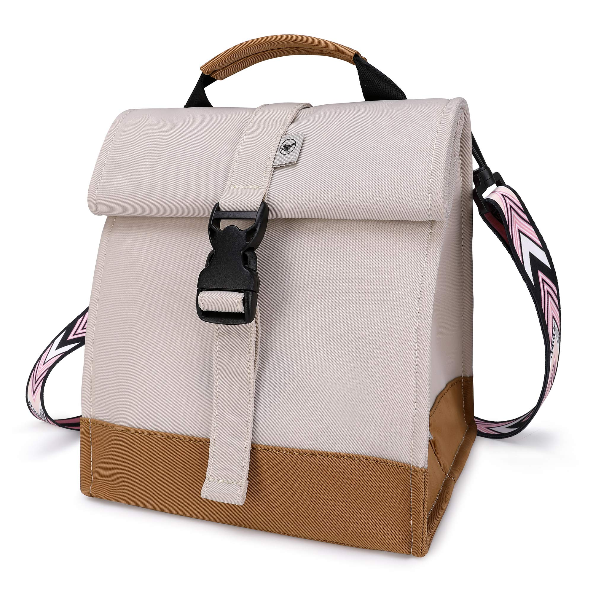 Sunny Bird Insulated Lunch Bag Rolltop Lunch Box for Women, Girls, Teens and Kids (White with pink shoulder strap)