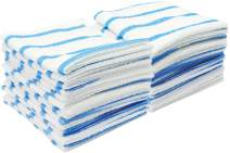 VIKING 539201 Bulk Edgeless Microfiber Cleaning Cloths 12 Inch x 12 Inch, White and Blue Stripe, 25 Pack