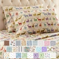 Thermee Micro Flannel Shavel Home Products Sheet Set, King, Reindeer Fantasy