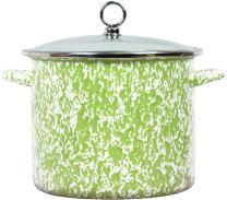 Calypso Basics by Reston Lloyd Vintage Marble Enamel on Steel Stockpot with Glass Lid, 8-Quart, Lime