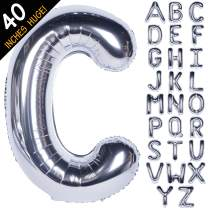 Letter Balloons 40 Inch Giant Jumbo Helium Foil Mylar for Party Decorations Silver C