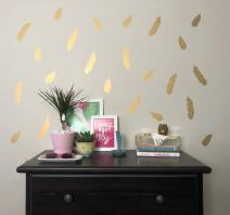 Better Than Paint Gold Metallic Feathers | 52 Wall Art Transfers | Fast & Easy