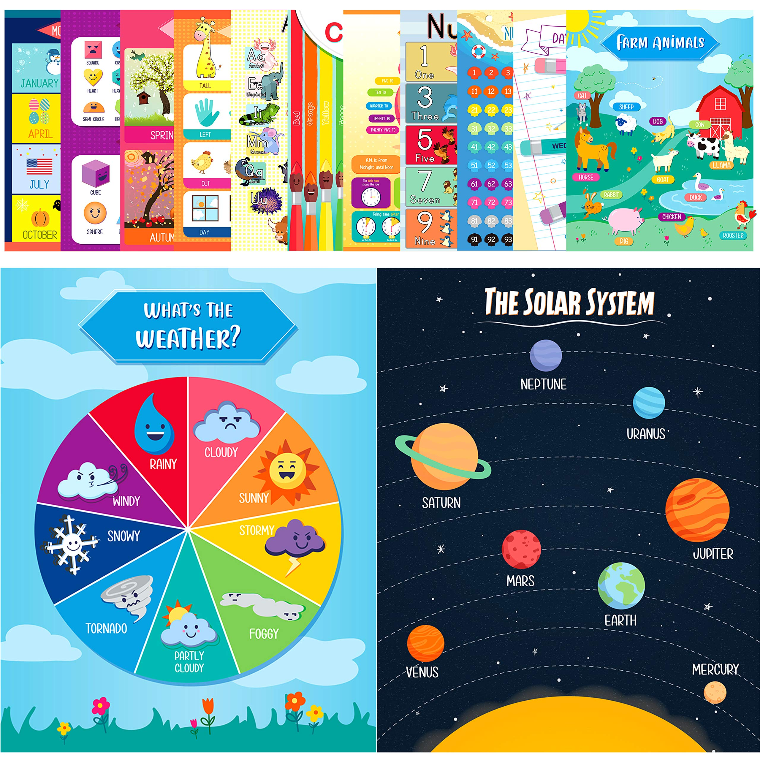 Youngever 13 Pack Laminated Educational Preschool Posters for Toddlers and Kids, Learning Posters, Classroom Posters, Teaching Posters, Alphabet ABC Posters, with Solar System (22 x 17 inch)
