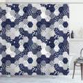 """Ambesonne Navy Blue Shower Curtain, Octagon Patchwork Style Pattern Image with Dots Stars Squares and Stripes, Cloth Fabric Bathroom Decor Set with Hooks, 84"""" Long Extra, Navy White"""