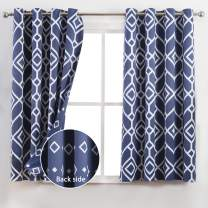 JC JACK&CATHERINE Reversible Printed Blackout Curtains with Moroccan and Geometric Design Thermal Insulated for Bedroom, Navy, 52 x 63 inch, 2 Panels