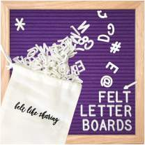 Royal Purple Felt Letter Board 10x10 Inches. Changeable Letter Boards Include 300 White Plastic Letters and Oak Frame.