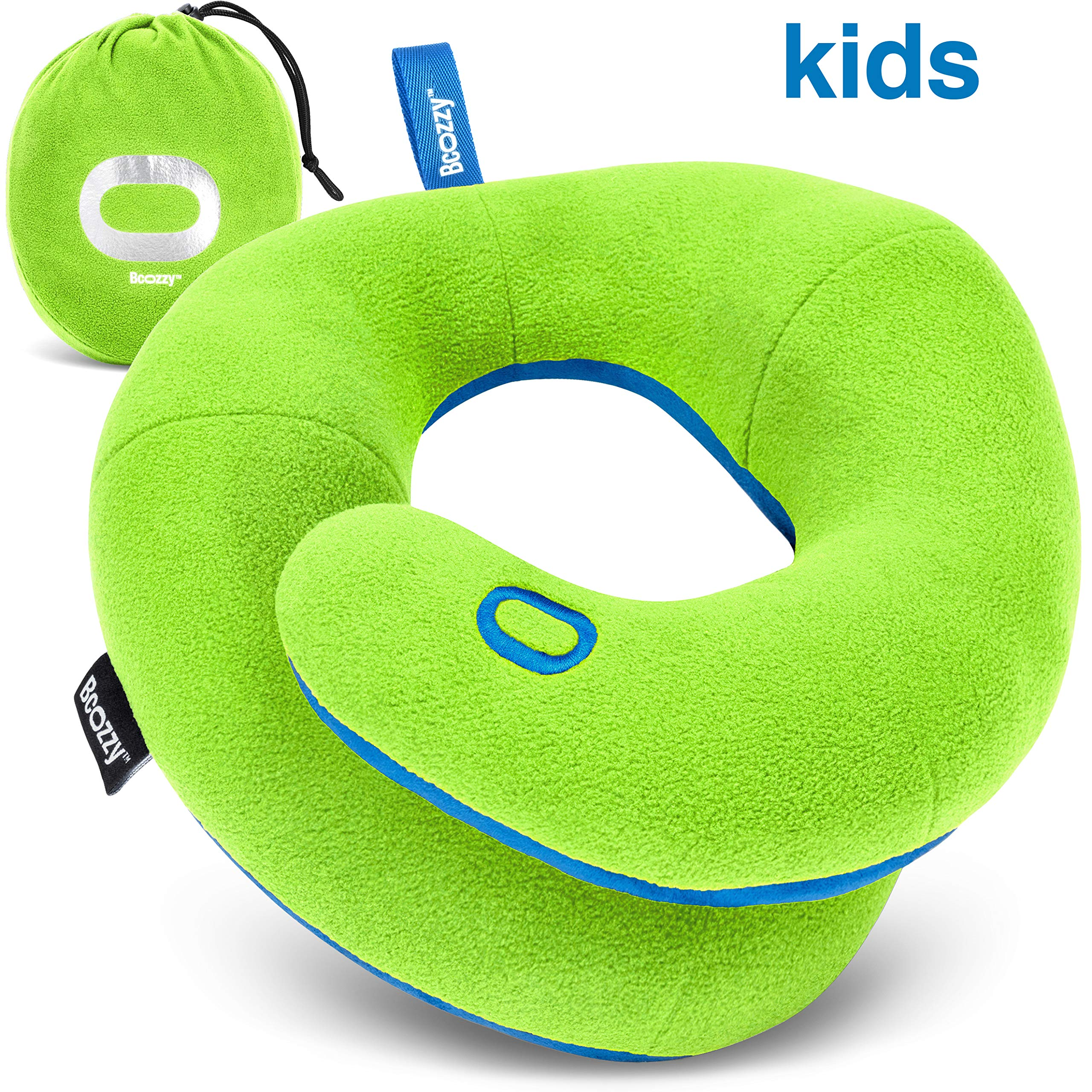 BCOZZY Kids- Travel Pillow- Supports Child's Head, Neck, and Chin While Sleeping in Booster Car-seat. Best Toddler Accessory & Activity for Traveling on Airplane and Road Trips. Green