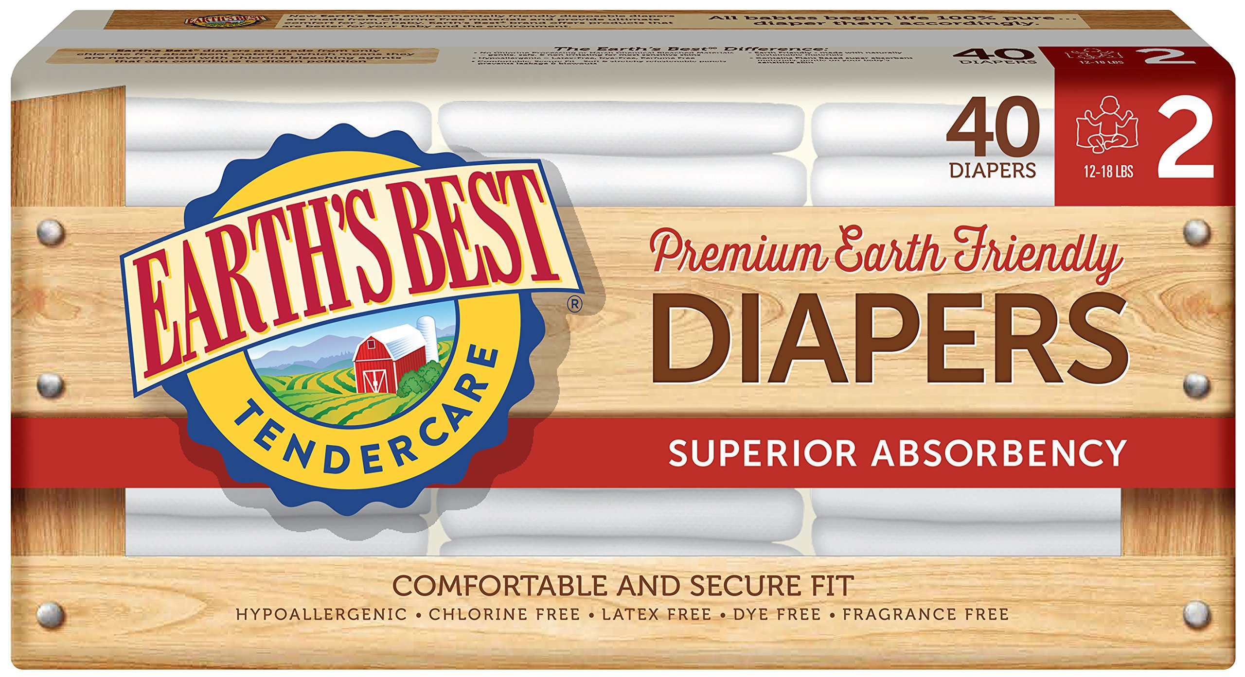 Earth's Best TenderCare Chlorine-Free Disposable Baby Diapers, (12-18 lbs),Size 2 (40 Count)