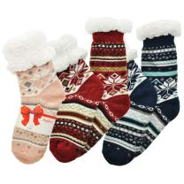 Angelina Women's Sherpa-Lined Thermal Christmas Slipper Socks with Gift Tags