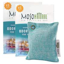 MOSO NATURAL: The Original Air Purifying Bag for The Refrigerator. No Fragrances, No Chemicals, Long Lasting Moisture Absorbing Odor Eliminator for Fridge and Freezer. Stronger Than Baking Soda 2 Pack