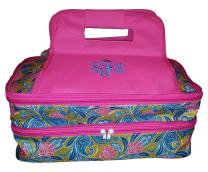 101 BEACH Thermal Insulated Casserole Travel Carrier Bag with 2 Compartments (Green with Pink Paisley - Embroidered Monogram)