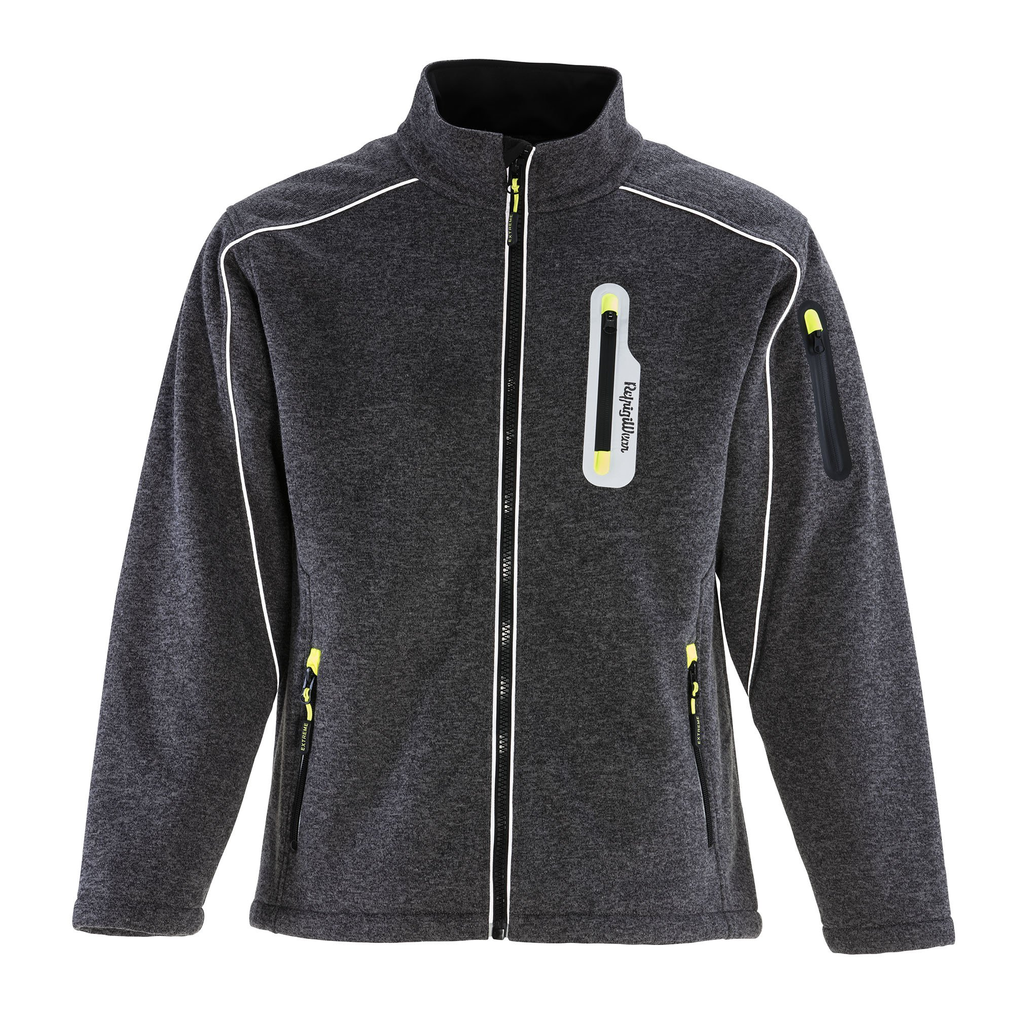 RefrigiWear Men's Fleece Lined Extreme Sweater Jacket with Reflective Piping (Gray, Medium)