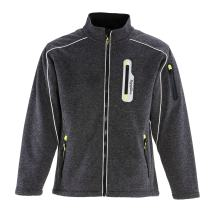RefrigiWear Men's Fleece Lined Extreme Sweater Jacket with Reflective Piping (Gray, 4XL)