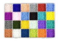 Mandala Crafts Glass Seed Beads, Small Pony Beads Assorted Kit with Organizer Box for Jewelry Making, Beading, Crafting (Round 2.1X1.8MM 11/0, 24 Assorted Multicolor Set Combo 2)