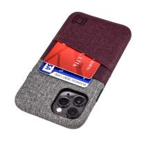 """Dockem iPhone 11 Pro Wallet Case: Built-in Metal Plate for Magnetic Mounting & 2 Card Holders (5.8"""" Luxe M2 Synthetic Leather, Maroon & Grey)"""