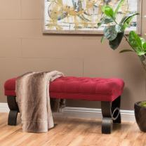 Christopher Knight Home Scarlett Tufted Fabric Ottoman Bench, Deep Red